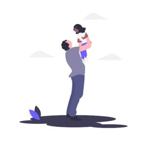 父親が子どもを抱っこする画像